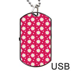 Daisy Dots Light Red Dog Tag Usb Flash (one Side)