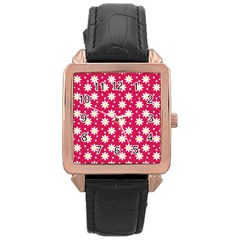 Daisy Dots Light Red Rose Gold Leather Watch