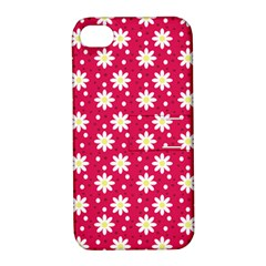 Daisy Dots Light Red Apple Iphone 4/4s Hardshell Case With Stand