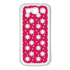 Daisy Dots Light Red Samsung Galaxy S3 Back Case (white)