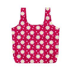 Daisy Dots Light Red Full Print Recycle Bags (m)
