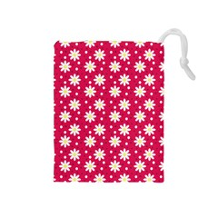 Daisy Dots Light Red Drawstring Pouches (medium)