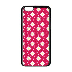 Daisy Dots Light Red Apple Iphone 6/6s Black Enamel Case