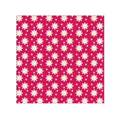 Daisy Dots Light Red Small Satin Scarf (square)