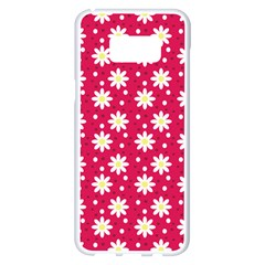 Daisy Dots Light Red Samsung Galaxy S8 Plus White Seamless Case