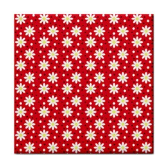 Daisy Dots Red Tile Coasters