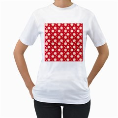 Daisy Dots Red Women s T Shirt (white) (two Sided)