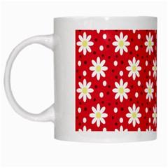 Daisy Dots Red White Mugs