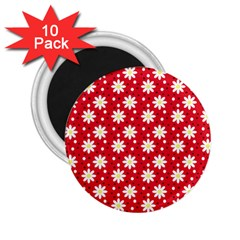 Daisy Dots Red 2 25  Magnets (10 Pack)