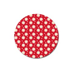 Daisy Dots Red Magnet 3  (round)