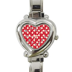 Daisy Dots Red Heart Italian Charm Watch