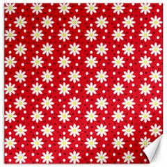 Daisy Dots Red Canvas 16  X 16