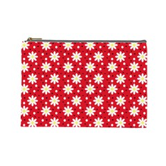 Daisy Dots Red Cosmetic Bag (large)