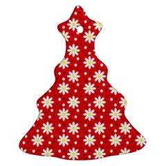 Daisy Dots Red Christmas Tree Ornament (two Sides)