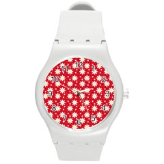 Daisy Dots Red Round Plastic Sport Watch (m)