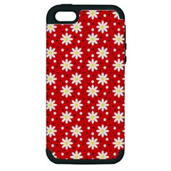 Daisy Dots Red Apple Iphone 5 Hardshell Case (pc+silicone)