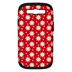 Daisy Dots Red Samsung Galaxy S Iii Hardshell Case (pc+silicone)