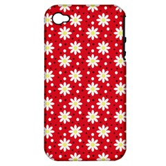 Daisy Dots Red Apple Iphone 4/4s Hardshell Case (pc+silicone)