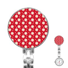 Daisy Dots Red Stainless Steel Nurses Watch