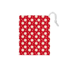 Daisy Dots Red Drawstring Pouches (small)