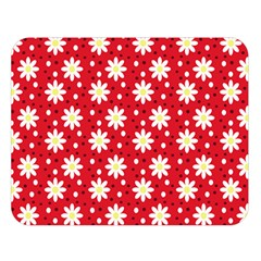 Daisy Dots Red Double Sided Flano Blanket (large)