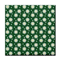 Daisy Dots Green Tile Coasters
