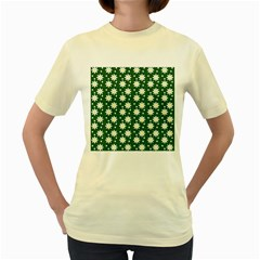 Daisy Dots Green Women s Yellow T Shirt