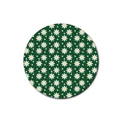 Daisy Dots Green Rubber Round Coaster (4 Pack)