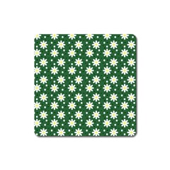 Daisy Dots Green Square Magnet