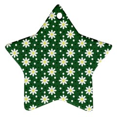 Daisy Dots Green Star Ornament (two Sides)