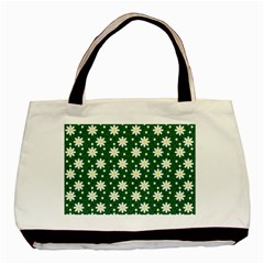 Daisy Dots Green Basic Tote Bag (two Sides)