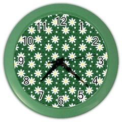 Daisy Dots Green Color Wall Clocks