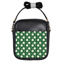 Daisy Dots Green Girls Sling Bags