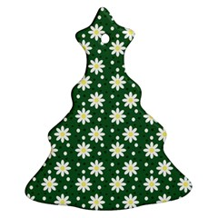 Daisy Dots Green Christmas Tree Ornament (two Sides)