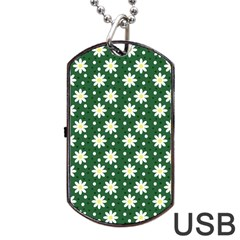 Daisy Dots Green Dog Tag Usb Flash (one Side)