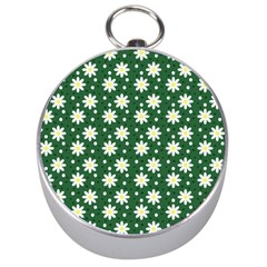 Daisy Dots Green Silver Compasses