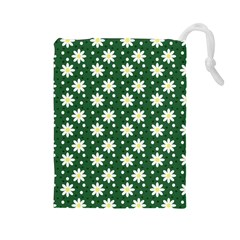 Daisy Dots Green Drawstring Pouches (large)