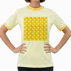 Daisy Dots Yellow Women s Fitted Ringer T Shirts