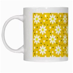Daisy Dots Yellow White Mugs