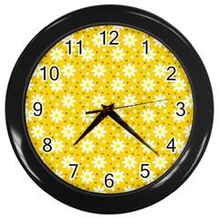 Daisy Dots Yellow Wall Clocks (black)