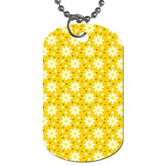 Daisy Dots Yellow Dog Tag (one Side)