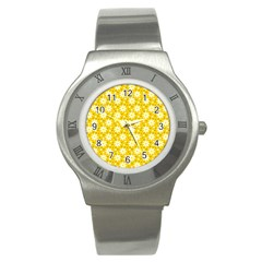 Daisy Dots Yellow Stainless Steel Watch