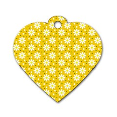 Daisy Dots Yellow Dog Tag Heart (one Side)