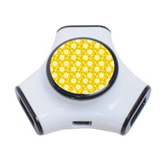 Daisy Dots Yellow 3 Port Usb Hub