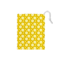 Daisy Dots Yellow Drawstring Pouches (small)