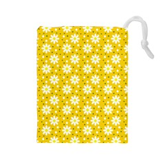 Daisy Dots Yellow Drawstring Pouches (large)