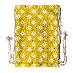 Daisy Dots Yellow Drawstring Bag (large)