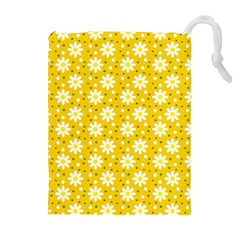 Daisy Dots Yellow Drawstring Pouches (extra Large)