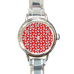 Square Flowers Red Round Italian Charm Watch