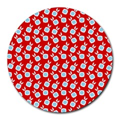 Square Flowers Red Round Mousepads